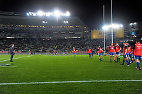 France head coach Jacques Brunel watches the forwards warm up for the Steinlager Series international rugby match between teh New Zealand All Blacks and France at Eden Park in Auckland, New Zealand on Saturday, 9 June 2018. Photo: Dave Lintott / lintottphoto.co.nz