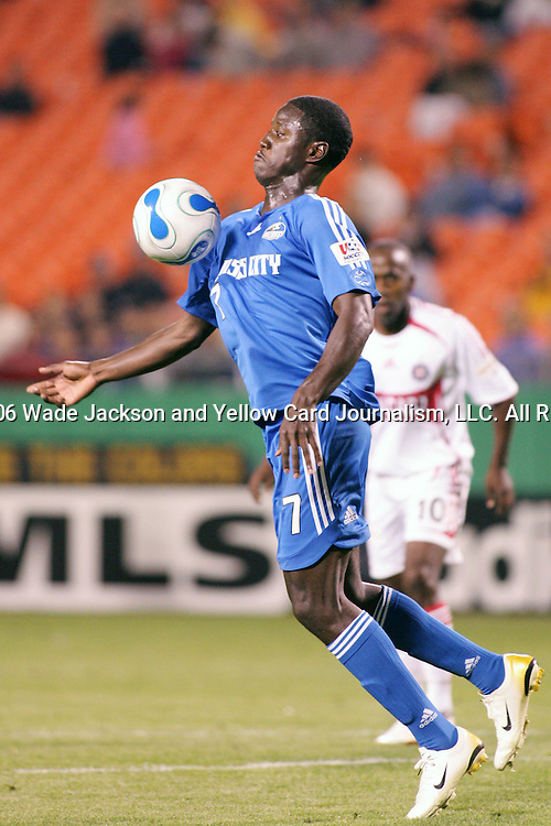 06 May 2006,  Eddie Johnson of the Wizards chests the ball.  Johnson was selected to the U.S. National Mens Team which will represent the USA at this summers 2006 World Cup tournament in Germany.  .The MLS Kansas City Wizards tied the Chicago Fire by a score of 1-1 in a regular season home match at Arrowhead Stadium, Kansas City, Missouri..---LIVE IMAGE---