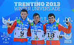 Students at the podium of the cross country Men 30 km Classic Mass Start event as part of the Winter Universiade Trentino 2013 on 21/12/2013 in Lago Di Tesero, Italy.<br /> <br /> &copy; Pierre Teyssot - www.pierreteyssot.com