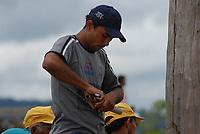 Trabalhadores ligados ao MTM - Movimento dos Trabalhadores em Mineração invadem a ferrovia de Carajás que transporta minério de ferro da CVRD durante os protestos pelo massacre de 19 sem terra ocorrido em 17 de abril há 12 anos atrás.Parauapebas, Pará, Brasil17/04/2008Foto Paulo Santos