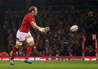 Wales' Alun Wyn-Jones offloads <br /> <br /> Photographer Ian Cook/CameraSport<br /> <br /> Under Armour Series Autumn Internationals - Wales v South Africa - Saturday 24th November 2018 - Principality Stadium - Cardiff<br /> <br /> World Copyright &copy; 2018 CameraSport. All rights reserved. 43 Linden Ave. Countesthorpe. Leicester. England. LE8 5PG - Tel: +44 (0) 116 277 4147 - admin@camerasport.com - www.camerasport.com