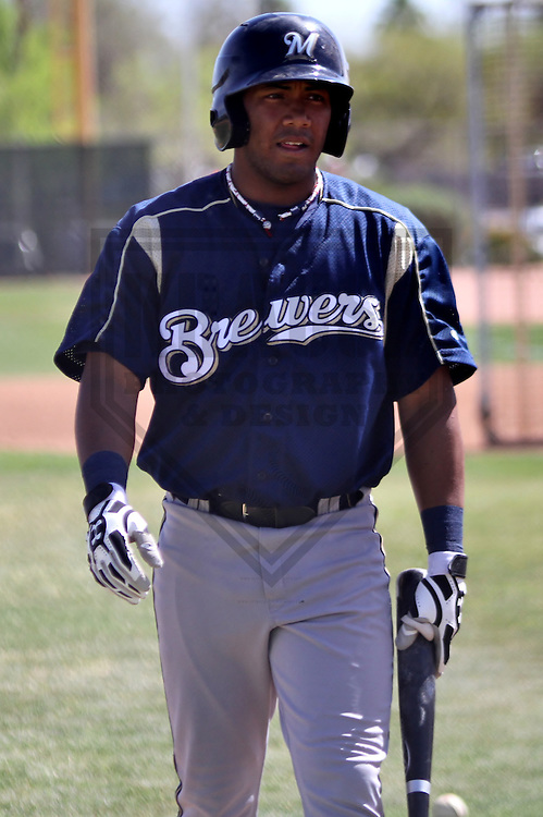 MARYVALE - March 2014: Edgardo Rivera of the Milwaukee Brewers during a spring training workout on March 18th, 2014 at Maryvale Baseball Park in Maryvale, Arizona.  (Photo Credit: Brad Krause)