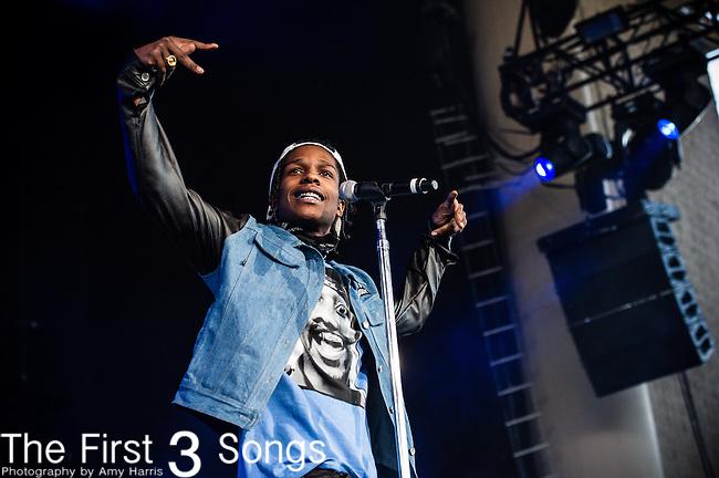ASAP Rocky (Rakim Mayers) performs at Klipsch Music Center in Indianapolis, Indiana.