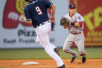 Louisville Bats shortstop Zach Vincej (3) turns a double play as Toledo Mud Hens baserunner John Hicks (9) runs towards second during the International League baseball game on May 17, 2017 at Fifth Third Field in Toledo, Ohio. Toledo defeated Louisville 16-2. (Andrew Woolley/Four Seam Images)