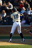 Christian Long (19) of the Wake Forest Demon Deacons at bat against the Gardner-Webb Runnin' Bulldogs at David F. Couch Ballpark on February 18, 2018 in  Winston-Salem, North Carolina. The Demon Deacons defeated the Runnin' Bulldogs 8-4 in game one of a double-header.  (Brian Westerholt/Four Seam Images)