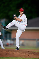 Auburn Doubledays relief pitcher Connor Zwetsch (37) delivers a pitch during a game against the Batavia Muckdogs on June 15, 2018 at Falcon Park in Auburn, New York.  Auburn defeated Batavia 5-1.  (Mike Janes/Four Seam Images)