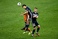 29th July 2020; Bankwest Stadium, Parramatta, New South Wales, Australia; A League Football, Melbourne Victory versus Brisbane Roar; So Nishikawa of Melbourne Victory rises to win a header