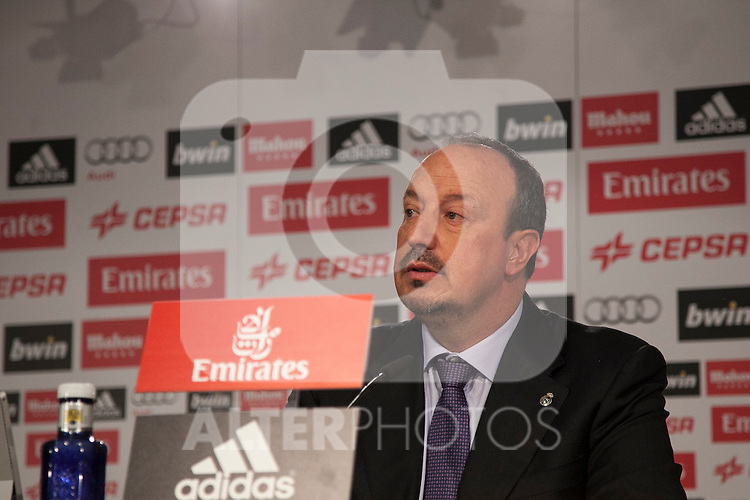 New Real Madrid coach Rafael Benitez at press conference during his official presentation at the Santiago Bernabeu stadium in Madrid, Spain. June 03, 2015. (ALTERPHOTOS/Victor Blanco)