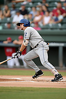 Third baseman Kyle Datres (3) of the Asheville Tourists bats in a game against the Greenville Drive on Friday, August 23, 2019, at Fluor Field at the West End in Greenville, South Carolina. Greenville won, 11-1. (Tom Priddy/Four Seam Images)