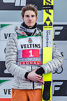 1st January 2020, Olympiaschanze, Garmisch Partenkirchen, Germany, FIS World cup Ski Jumping, 4-Hills competition; 2nd placed Karl Geiger of Germany during the winner ceremony for the Four Hills Tournament