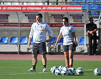 20131025 - LIVADIA , GREECE :  Belgian coach Ives Serneels and assistant Tamara Cassimon pictured during the matchday - 1 training from  Belgium , on  matchday minus 1 on the third matchday in group 5 of the UEFA qualifying round to the FIFA Women World Cup in Canada 2015 at the Levadia Municipal Stadium  , Livadia . friday 25th October 2013. PHOTO DAVID CATRY
