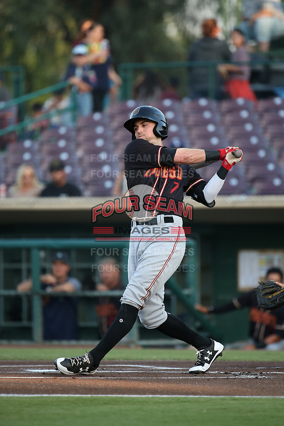 Braden Bishop (7) of the Modesto Nuts bats against the Inland Empire 66ers at San Manuel Stadium on June 2, 2017 in San Bernardino, California. Inland Empire defeated Modesto, 7-2. (Larry Goren/Four Seam Images)