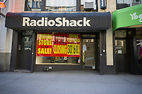 A RadioShack store in New York displays it closing sales on Wednesday, February 11, 2015. As part of their bankruptcy RadioShack will close almost 1800 stores nationwide including 66 in the New York area. (© Richard B. Levine)