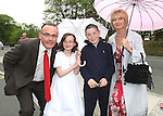 Martin, Roisín, Emmet and Yvonne Connor at Termonfeckin NS Communion...Photo NEWSFILE/Jenny Matthews.(Photo credit should read Jenny Matthews/NEWSFILE)....This Picture has been sent you under the condtions enclosed by:.Newsfile Ltd..The Studio,.Millmount Abbey,.Drogheda,.Co Meath..Ireland..Tel: +353(0)41-9871240.Fax: +353(0)41-9871260.GSM: +353(0)86-2500958.email: pictures@newsfile.ie.www.newsfile.ie.FTP: 193.120.102.198.
