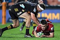 1st August 2020, Hamilton, New Zealand;  Will Jordan scores.<br /> Chiefs versus Crusaders, Super Rugby Aotearoa, FMG Waikato Stadium, Hamilton, New Zealand.