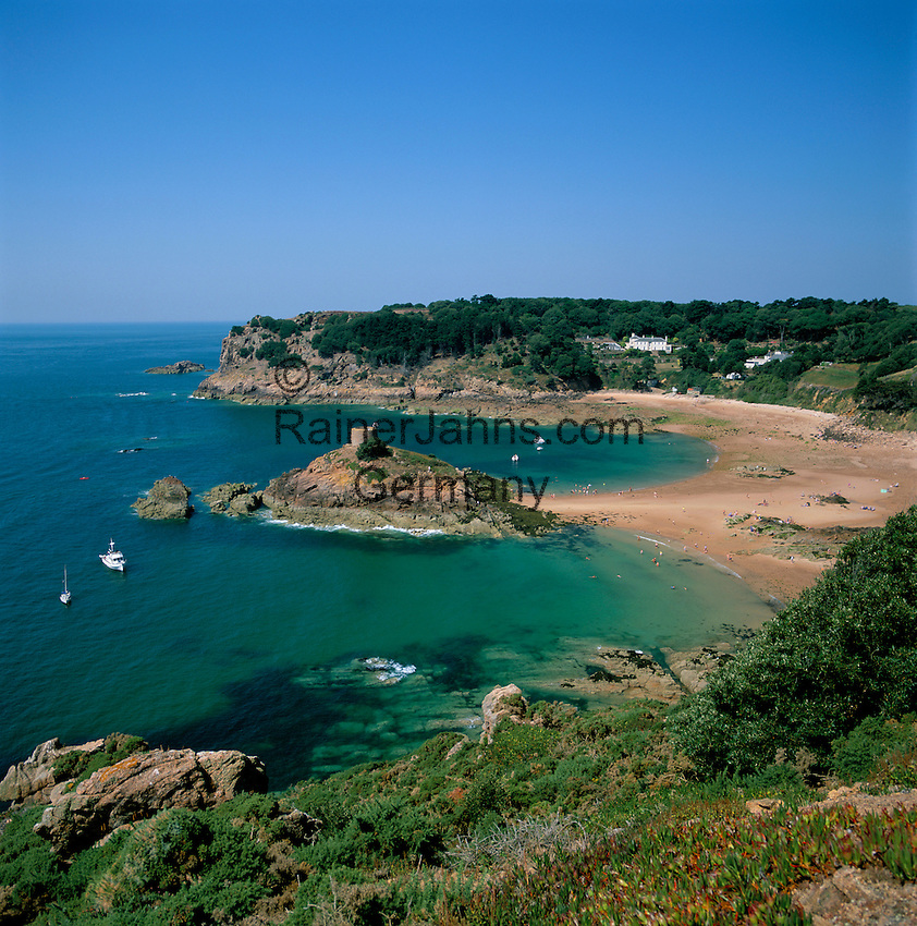 Great Britain, England, Channel Islands, Jersey, near St. Brelade: Portelet Bay and Beach on southwest of Jersey | Grossbritannien, England, Kanalinseln, Jersey, bei St. Brelade: Portelet Bay, Bucht und Strand im Suedwesten