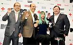 Hiroshi Mizohata, John V. Roos, Lady Gaga and Robert Bakish, Jun 23, 2011 : Lady Gaga, Tokyo, Japan, June 23, 2011 : (L-R) Commissioner Japan Tourism Agency , Hiroshi Mizohata, U.S. ambassador to Japan, John V. Roos, Lady Gaga and Robert Bakish attend a press conference in Tokyo, Japan, on June 23, 2011.