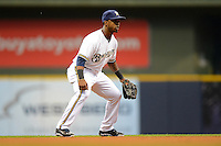 Milwaukee Brewers shortstop Jean Segura #9 during a game against the Los Angeles Dodgers at Miller Park on May 22, 2013 in Milwaukee, Wisconsin.  Los Angeles defeated Milwaukee 9-2.  (Mike Janes/Four Seam Images)