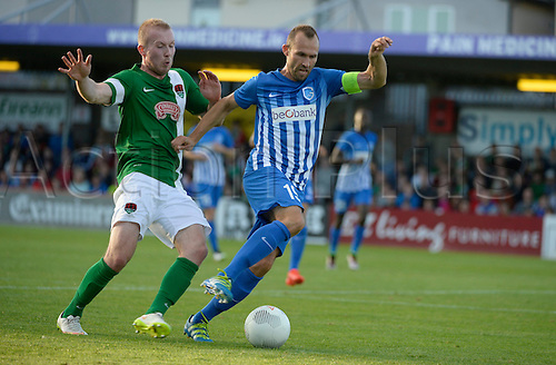 04.08.2016. Cork, Ireland. UEFA, Europa League football qualification round. Cork City versus Racing Genk.  Sebastien Dewaest defender of Krc Genk  turns  Dooley  of Cork