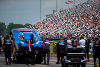 Jul 18, 2020; Clermont, Indiana, USA; NHRA fans in the crowd during professional qualifying for the Summernationals at Lucas Oil Raceway. Mandatory Credit: Mark J. Rebilas-USA TODAY Sports