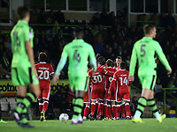 Gboly Ariyibi of MK Dons is congratulated after scoring their opening goal during Forest Green Rovers vs MK Dons, Caraboa Cup Football at The New Lawn on 8th August 2017