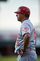 AZL Reds manager Jose Nieves (15) during an Arizona League game against the AZL Cubs 2 on July 23, 2019 at Sloan Park in Mesa, Arizona. AZL Cubs 2 defeated the AZL Reds 5-3. (Zachary Lucy/Four Seam Images)