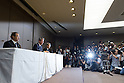 July 21, 2015, Tokyo, Japan - Toshiba President Hisao Tanaka, center, attends news conference at the company HQ in Tokyo on Tuesday, July 21, 2015. Tanaka and two other executives resigned to take responsibility for a $1.2 billion accounting scandal involving inflating its profit over several years. (Photo by AFLO)