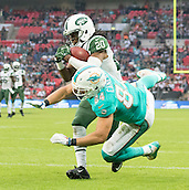 04.10.2015. Wembley Stadium, London, England. NFL International Series. Miami Dolphins versus New York Jets. New York Jets Cornerback Marcus Williams intercepts the ball thrown by Miami Dolphins Quarterback Ryan Tannehill in the End Zone.
