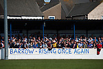 Lowestoft Town 2 Barrow 3, 25/04/2015. Crown Meadow, Conference North. Barrow make the six-hour trip to Suffolk needing a win to secure the title. Barrow support in the covered terrace. Photo by Simon Gill.
