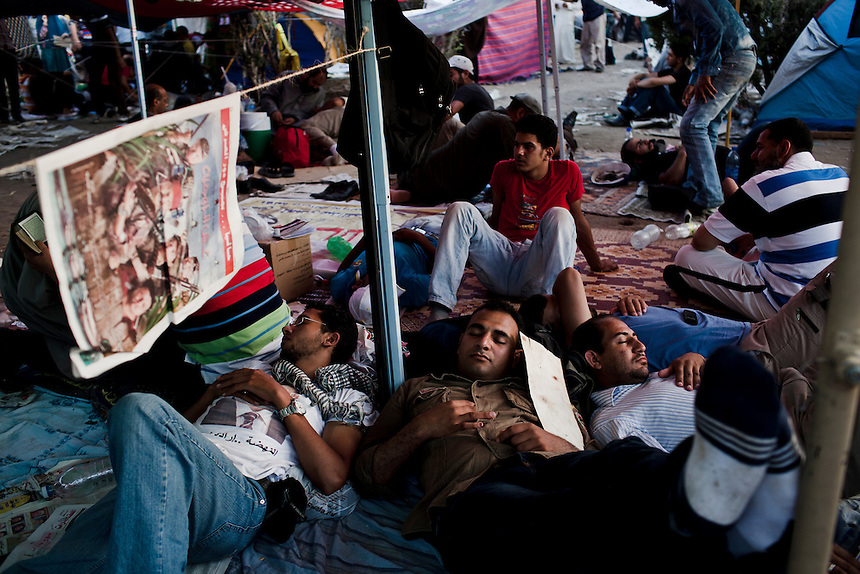 Supporters of Muslim Brotherhood presidential candidate camp out in Cairo's Tahrir Square to show their support for the Islamist candidate during the final calculation of votes, June 25, 2012. Photo: Ed Giles.