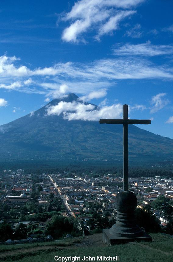 Panoramic view of the Spanish Colonial city of Antigua, Guatemala, and Agua Volcano from Cerro de La Cruz