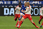 16.03.2019, VELTINS-Arena, Gelsenkirchen, GER, DFL, 1. BL, FC Schalke 04 vs RB Leipzig, DFL regulations prohibit any use of photographs as image sequences and/or quasi-video<br /> <br /> im Bild v. li. im Zweikampf Sutat Serdar (#8, FC Schalke 04)  Konrad Laimer (#27, RB Leipzig)<br /> <br /> Foto © nph/Mauelshagen