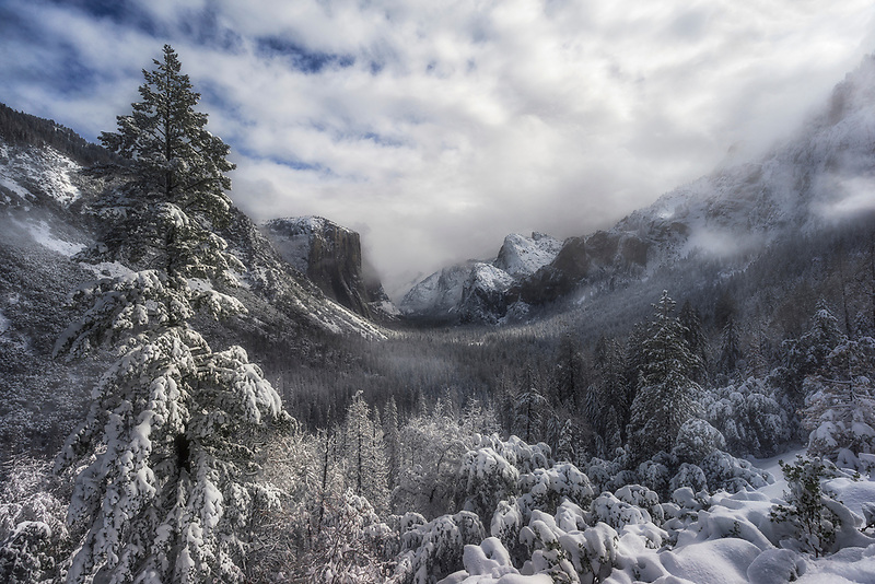 Snow & Dappled Light at Tunnel View. Yosemite National Park, CA