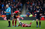 Enda Stevens of Sheffield Utd  helps Oli McBurnie of Sheffield Utd with cramp during the Premier League match at Bramall Lane, Sheffield. Picture date: 9th February 2020. Picture credit should read: Simon Bellis/Sportimage