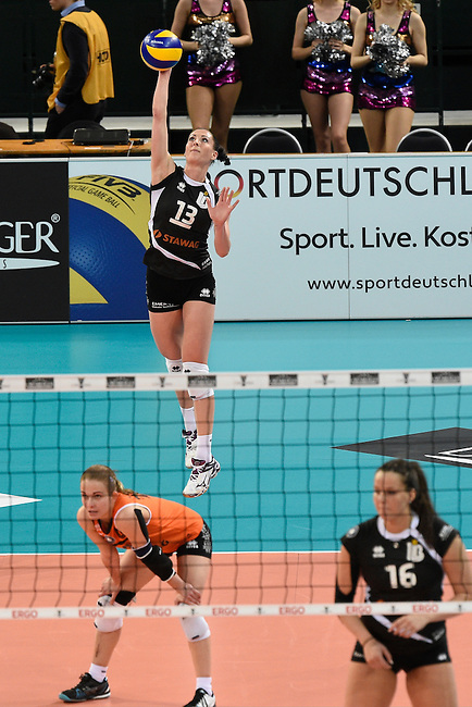Halle/Westfalen, Germany, March 01: during the Volleyball DVV-Pokalfinale (Damen) between Ladies in Black Aachen and Allianz MTV Stuttgart on March 1, 2015 at the Gerry Weber Stadion in Halle/Westfalen, Germany. Final score 2-3 (25-17, 25-20, 19-25, 19-25, 13-15). (Photo by Dirk Markgraf / www.265-images.com) *** Local caption *** Karolina Bednarova #13 of Ladies in Black Aachen