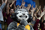 SIOUX FALLS, SD - MARCH 24: Northern State University mascot, Thunder, watches free throws during the Division II Men's Basketball Championship held at the Sanford Pentagon on March 24, 2018 in Sioux Falls, South Dakota. Ferris State University defeated Northern State University 71-69. (Photo by Tim Nwachukwu/NCAA Photos via Getty Images)