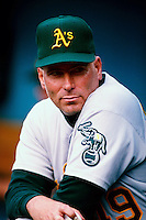Tom Candiotti of the Oakland Athletics participates in a Major League Baseball game at Dodger Stadium during the 1998 season in Los Angeles, California. (Larry Goren/Four Seam Images)