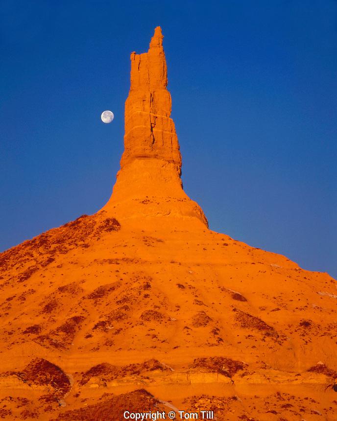Winter Moonrise at Chimney Rock, Landmark on the Oregon Trail, Chimney Rock National Historic Site, Nebraska