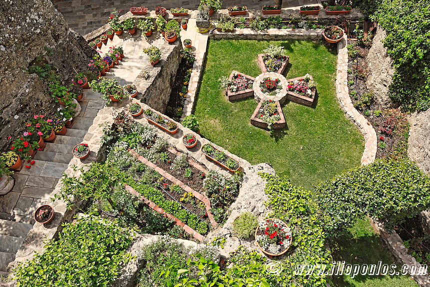 The garden of Roussanou Monastery in the Meteora Monastery complex in Greece