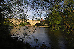 Early morning light on bridge over river Ure, Ripon, North Yorkshire, England.