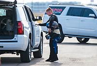 Oct 20, 2019; Ennis, TX, USA; NHRA top fuel driver Jordan Vandergriff reacts during the Fall Nationals at the Texas Motorplex. Mandatory Credit: Mark J. Rebilas-USA TODAY Sports