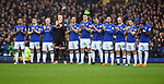 The Everton team applaud during the minutes silence for footballer Ray Wilkins who died in the week before the start of the premier league match at Goodison Park Stadium, Liverpool. Picture date 7th April 2018. Picture credit should read: Robin Parker/Sportimage