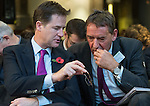 © Joel Goodman - 07973 332324 . NO SYNDICATION PERMITTED . 06/11/2014 . Leeds , UK . The Deputy Prime Minister , Nick Clegg (left) confers with economist Jim O'Neill at the Northern Futures Summit in Leeds this morning (Thursday 6th November 2014) .  . Photo credit : Joel Goodman