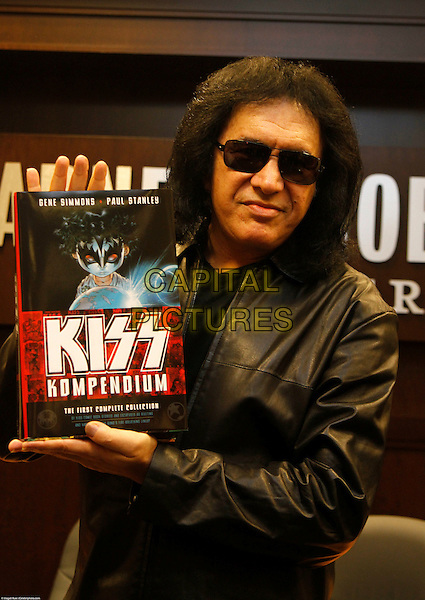 GENE SIMMONS.Gene Simmons signs copies of the new book KISS Kompendium, on which he collaborated with fellow KISS member, Paul Stanley. Simmons appeared at Barnes & Noble in Los Angeles, California, USA. .February 8th, 2010.half length black leather jacket sunglasses shades.CAP/CEL/MR.©Magali Ruer/CelPh/Capital Pictures...