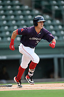 Designated hitter Jordan Wren (3) of the Greenville Drive runs out a batted ball in a game against the Delmarva Shorebirds on Friday, August 2, 2019, in the continuation of rain-shortened game begun August 1, at Fluor Field at the West End in Greenville, South Carolina. Delmarva won, 8-5. (Tom Priddy/Four Seam Images)