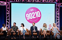 2019 FOX SUMMER TCA: (L-R): BH90210 cast members Gabrielle Carteris, Brian Austin Green, Shannen Doherty, Ian Ziering, Jennie Garth, and Tori Spelling during the BH90210 panel at the 2019 FOX SUMMER TCA at the Beverly Hilton Hotel, Wednesday, Aug. 7 in Beverly Hills, CA. CR: Frank Micelotta/FOX/PictureGroup