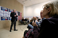Greg Fischer, mayor of Louisville, Ky., and campaign co-chairmanof Presidential candidate Michael Bloomberg, speaks Monday, February, 10, 2020, at the field office for Bloomberg located at 109 N. Block Avenue in Fayetteville. The opening of the office was part of a three city tour that included Fort Smith and Little Rock. Check out nwaonline.com/200211Daily/ and nwadg.com/photos for a photo gallery.<br /> (NWA Democrat-Gazette/David Gottschalk)