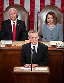 Jens Stoltenberg, Secretary General of the North Atlantic Treaty Organization (NATO) addresses a joint session of the United States Congress in the US Capitol in Washington, DC on Wednesday, April 3, 2019.  Looking on from behind are US Vice President Mike Pence, left, and Speaker of the US House of Representatives Nancy Pelosi (Democrat of California), right.<br /> Credit: Ron Sachs / CNP