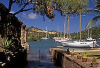 AJ2453, Antigua, Caribbean, Caribbean Islands, Sailboats at Historic Nelson's Dockyard in English Harbour on the island of Antigua (a British Commonwealth member).