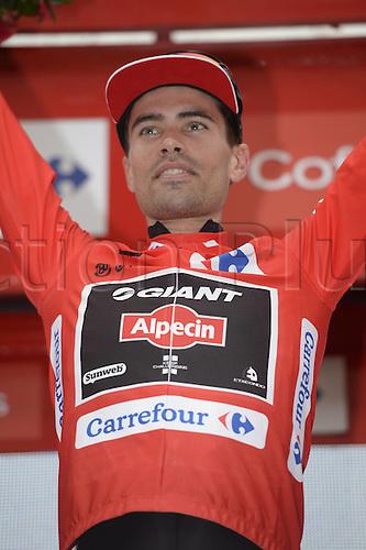 31.08.2015. 2015.  Valencia -to Castellon, Vuelta Espana Cycling tour, stage 10.  Giant - Alpecin 2015, Dumoulin Tom on the stage winners podium in Castellon